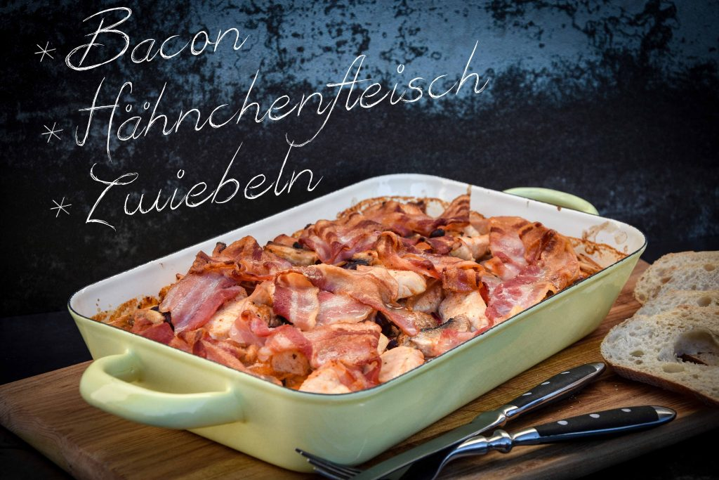 Zwiebel-Bacon Auflauf mit Hähnchenfleisch vom Grill