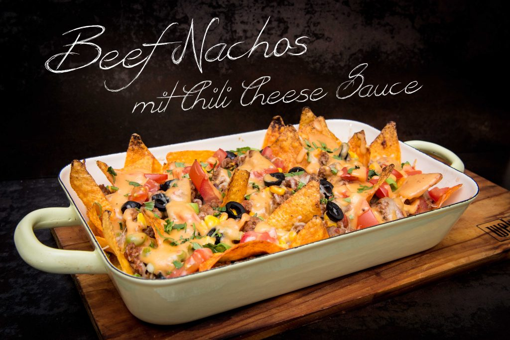 Beef Nachos mit Chili Cheese Sauce