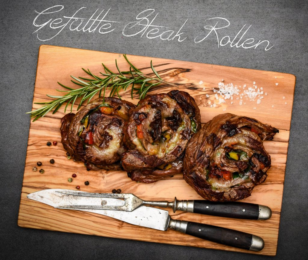 Gefüllte Steak Rollen vom Grill