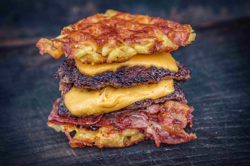 Mac & Cheese Double Beef Bacon Cheese Burger